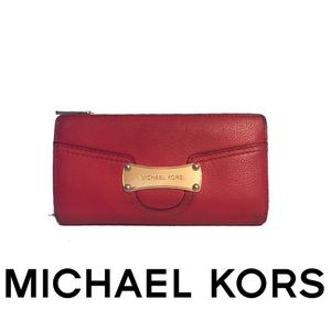 Michael Kors Bags - Michael Kors Signature Tomato Red Leather Wallet